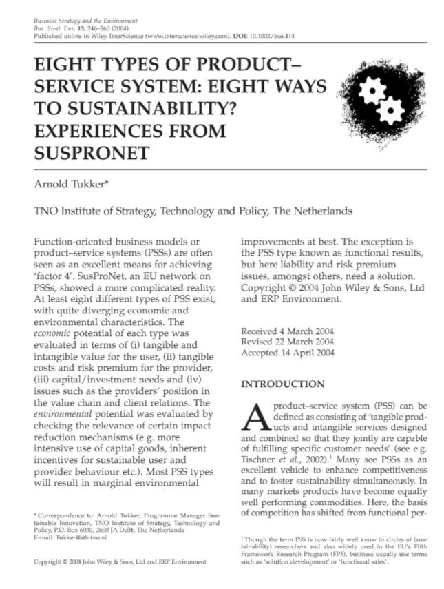 Eight Types of Product–Service System: Eight Ways to Sustainability? Experiences From Suspronet