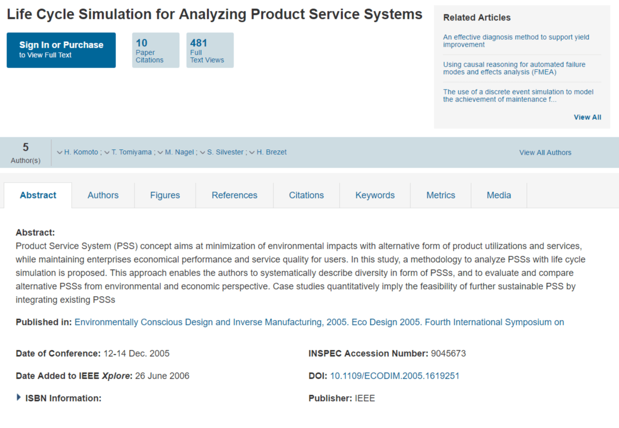 Life Cycle Simulation for Analyzing Product Service Systems