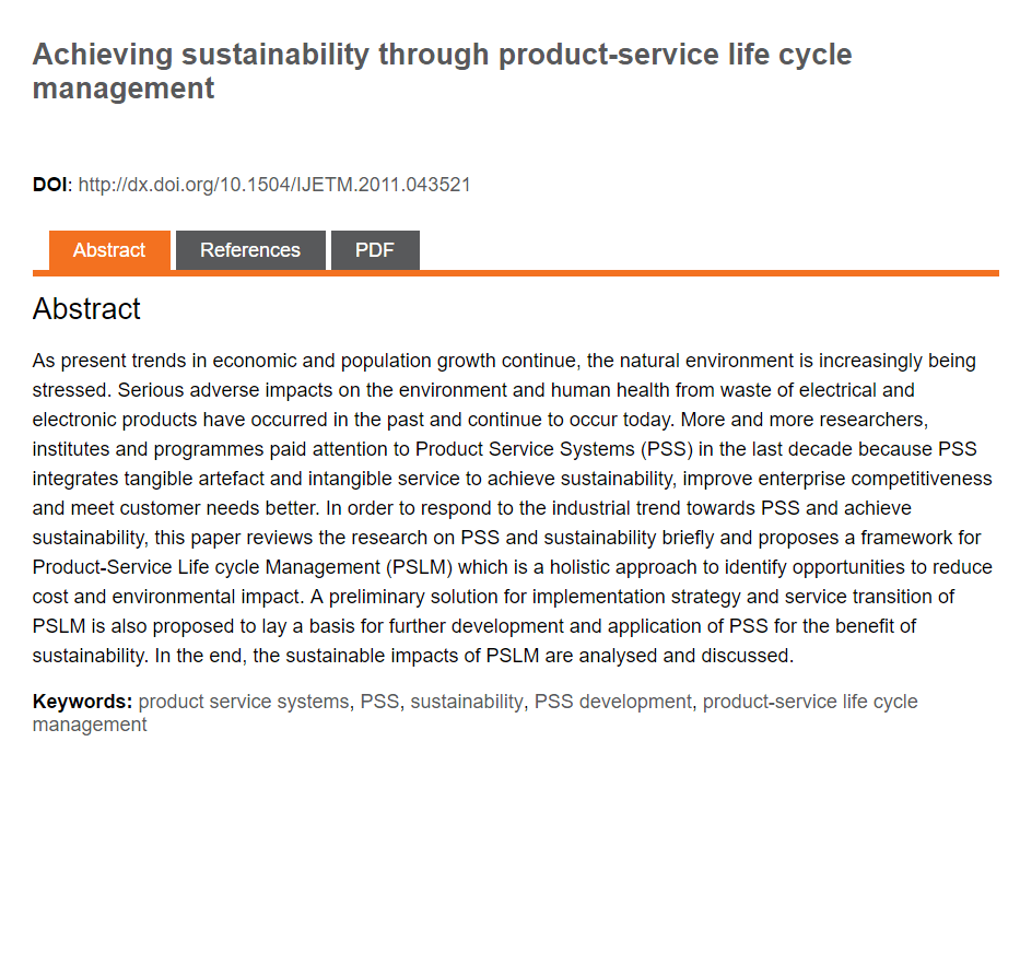 Achieving Sustainability Through Product-Service Life Cycle Management