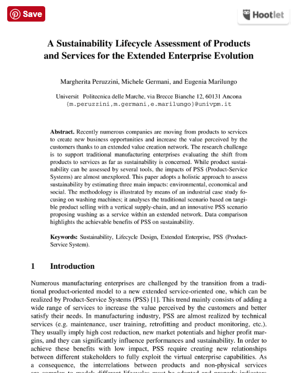 A Sustainability Lifecycle Assessment of Products and Services for the Extended Enterprise Evolution