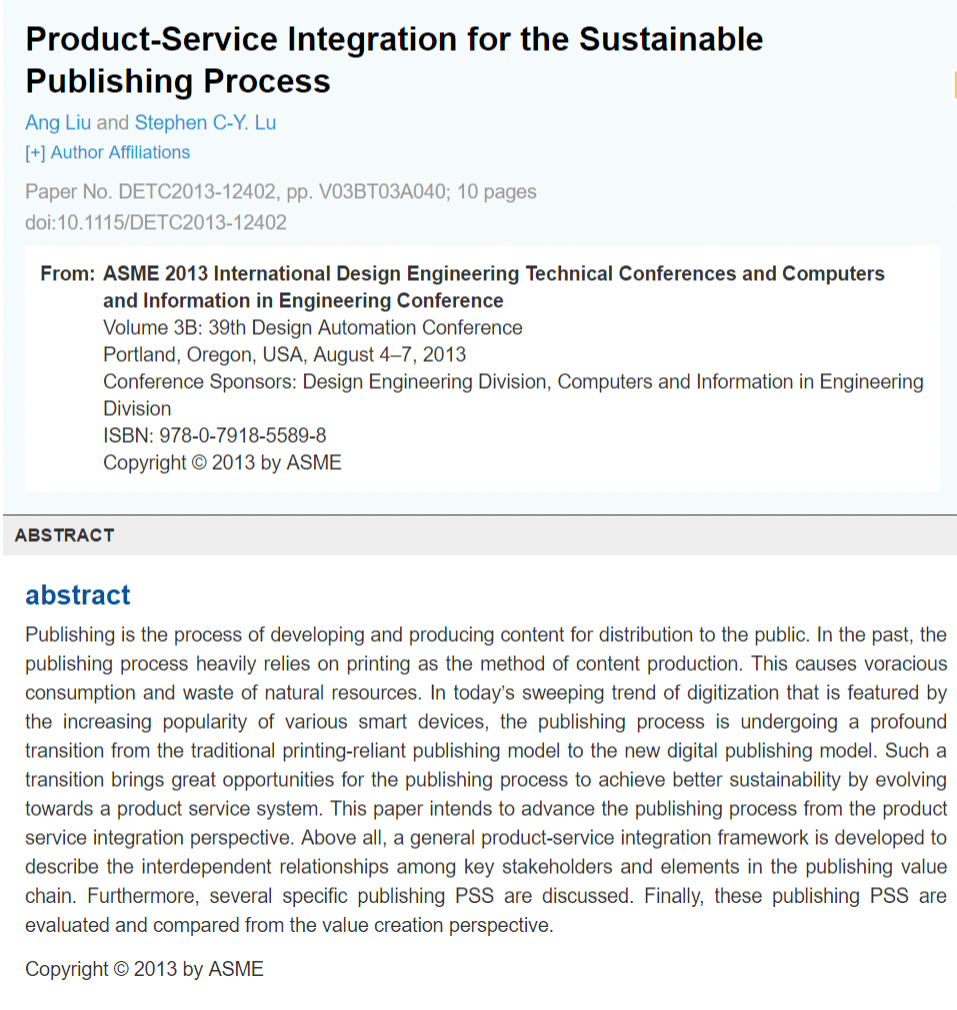 Product-Service Integration for the Sustainable Publishing Process