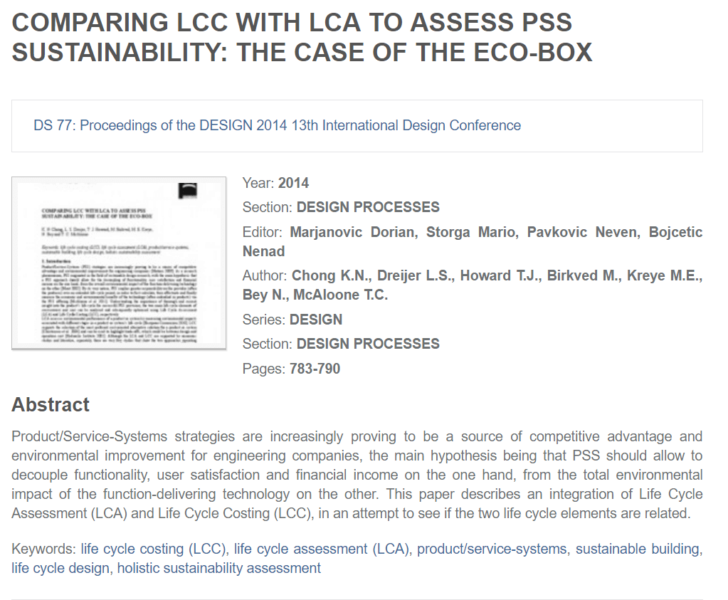 Comparing LCC With LCA to Assess PSS Sustainability: The Case of the Eco-Box
