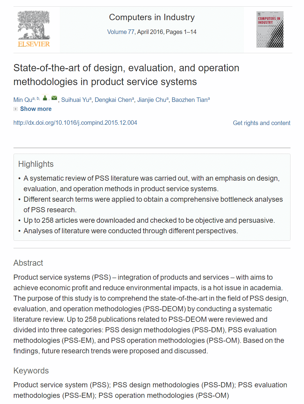 State-of-the-art of Design, Evaluation, and Operation Methodologies in Product Service Systems