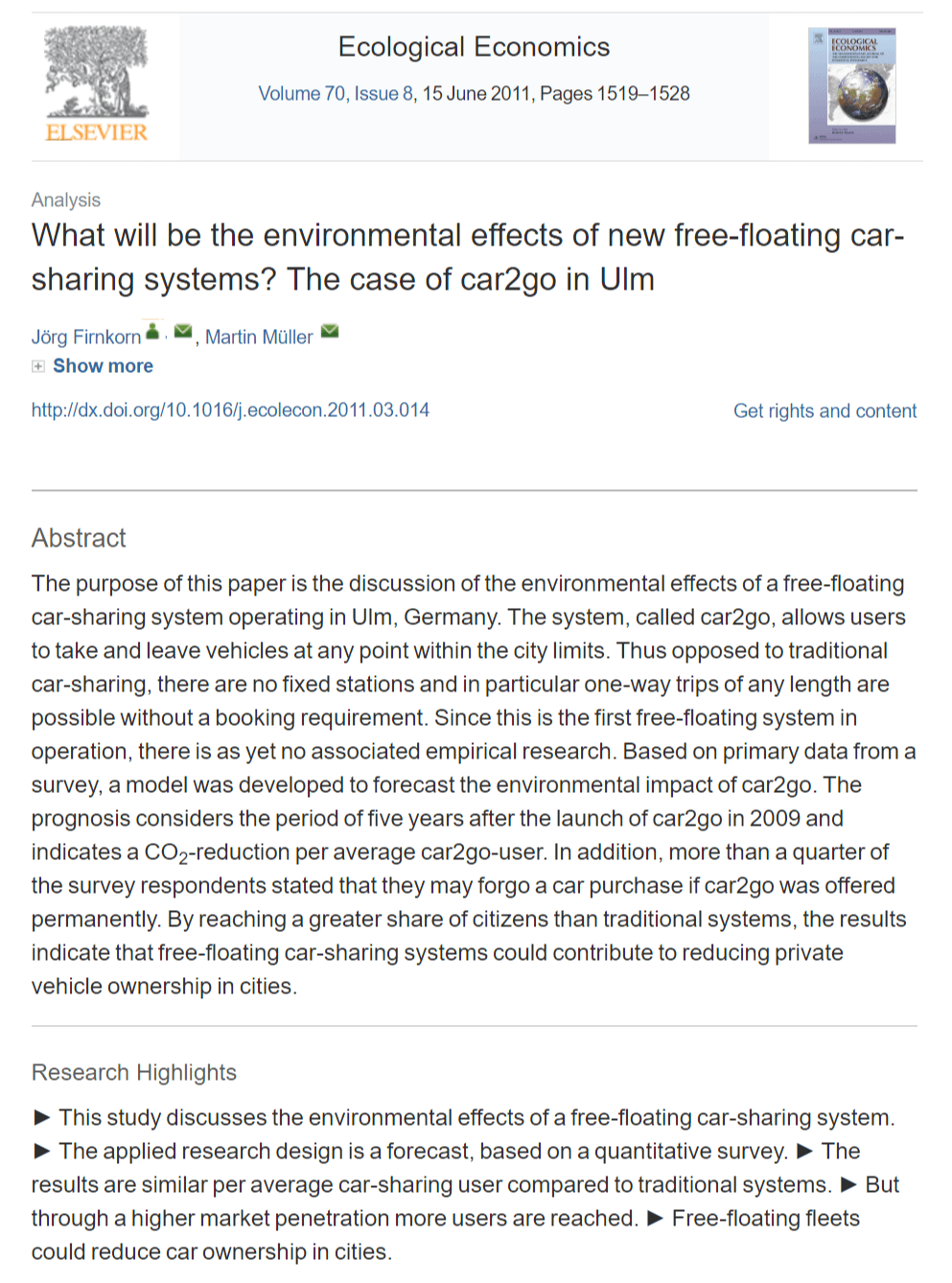 What Will Be the Environmental Effects of New Free-floating Car-sharing Systems? The Case of Car2go in Ulm