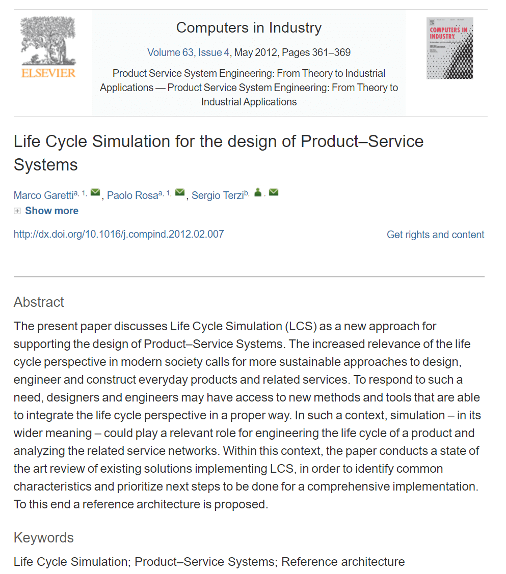 Life Cycle Simulation for the Design of Product-Service Systems