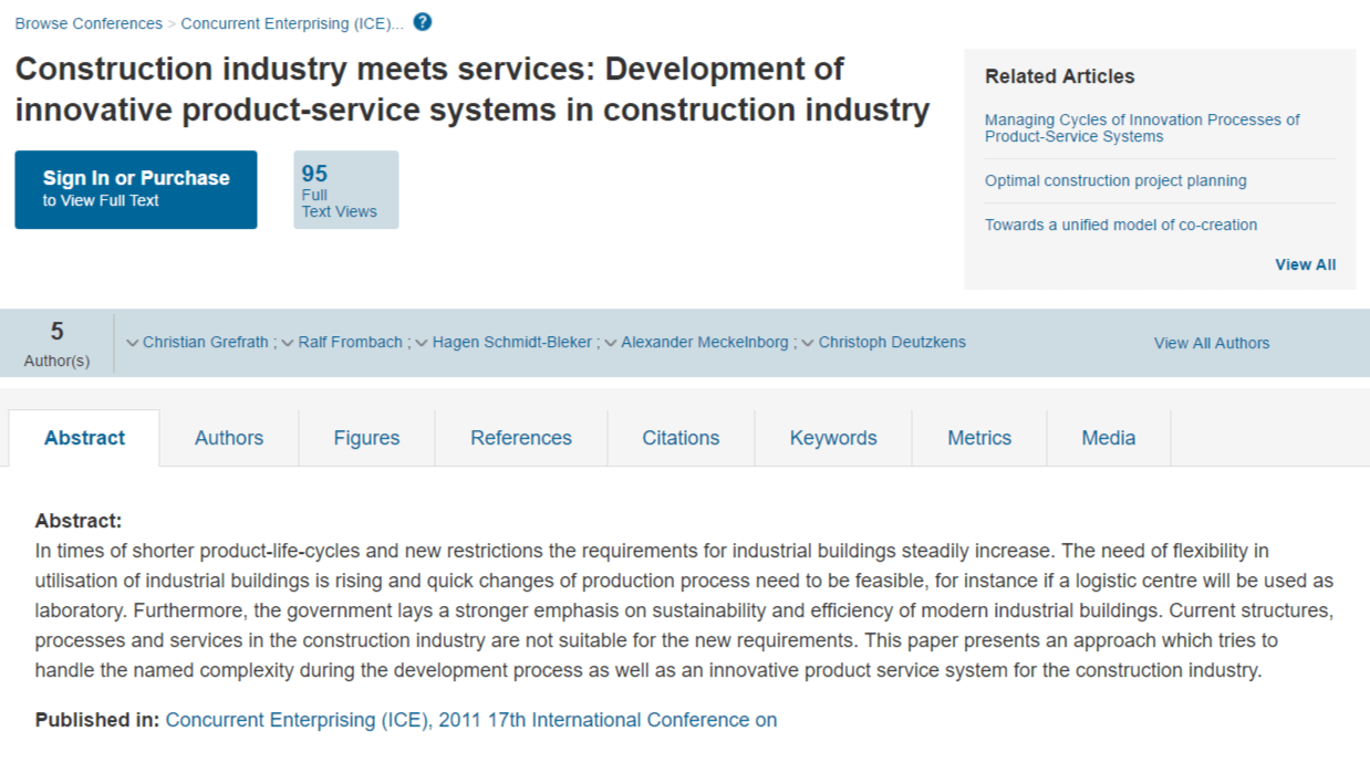 Construction Industry Meets Services: Development of Innovative Product-Service Systems in Construction Industry