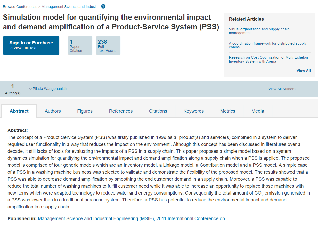Simulation Model for Quantifying the Environmental Impact and Demand Amplification of a Product-Service System (PSS)