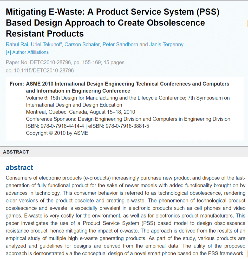 Mitigating E-Waste: A Product Service System (PSS) Based Design Approach to Create Obsolescence Resistant Products