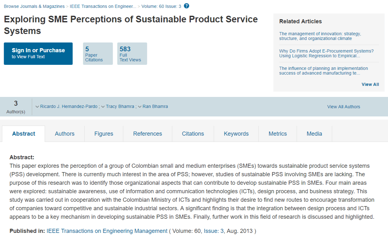 Exploring SME Perceptions of Sustainable Product Service Systems