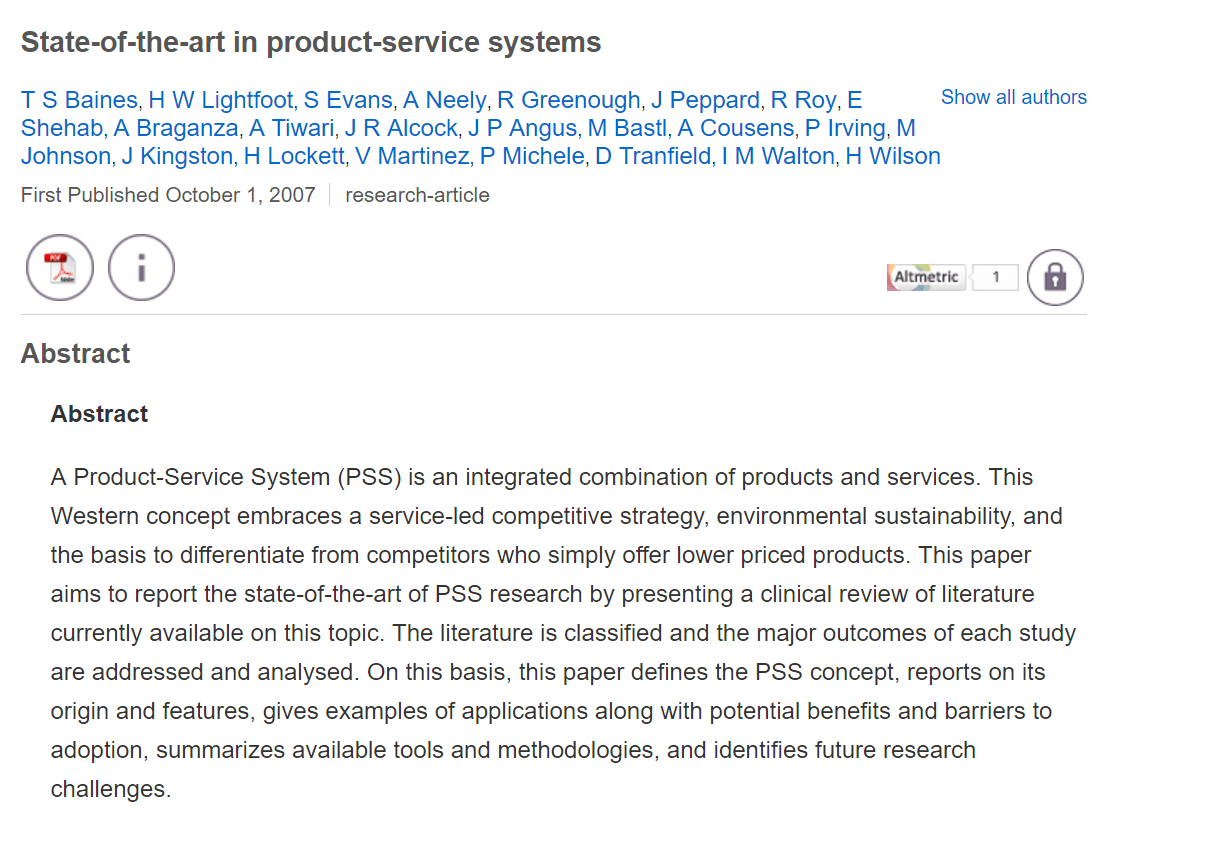 State-Of-The-Art in Product-Service Systems