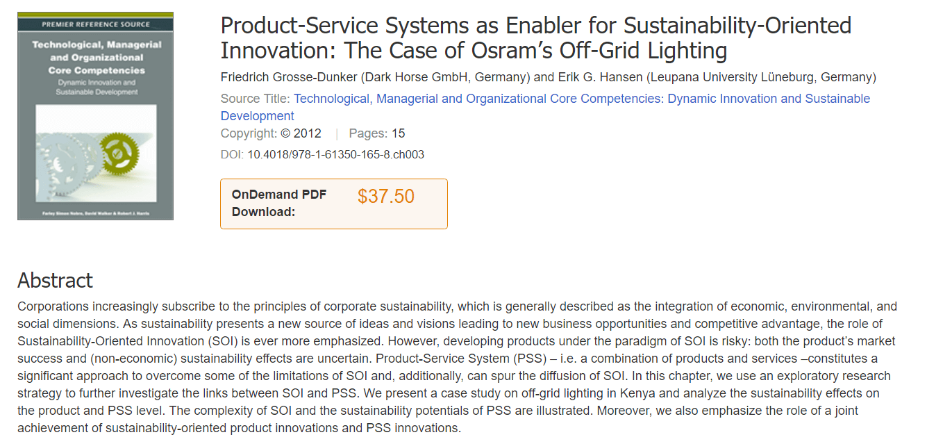 Product-Service Systems as Enabler for Sustainability-Oriented Innovation: The Case of Osram'a Off-Grid Lighting
