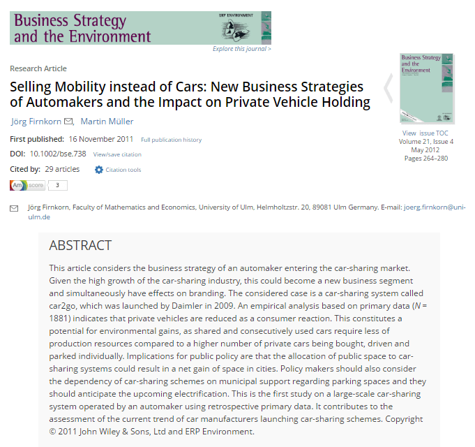 Selling Mobility Instead of Cars: New Business Strategies of Automakers and the Impact on Private Vehicle Holding