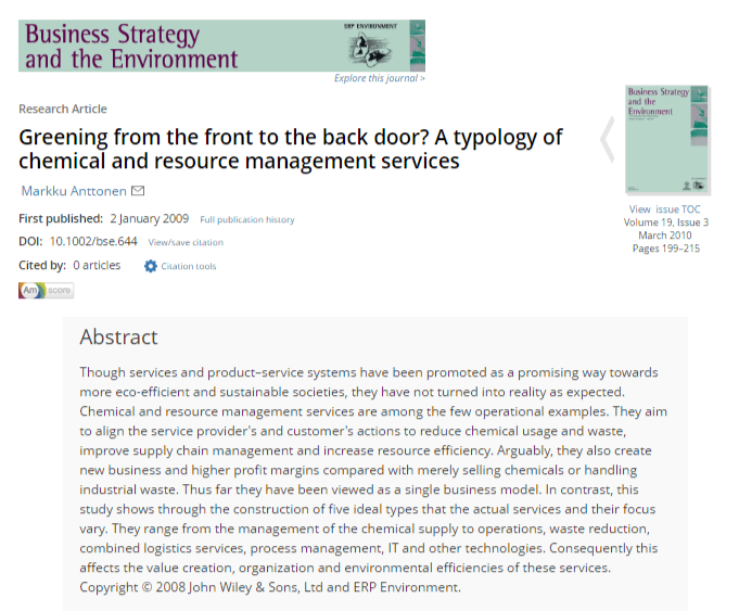 Greening From the Front to the Back Door? A Typology of Chemical and Resource Management Services