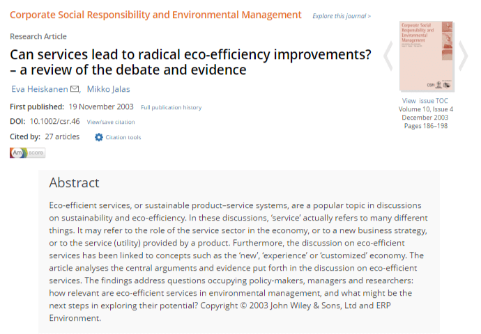 Can Services Lead To Radical Eco-Efficiency Improvements? - A Review Of The Debate And Evidence