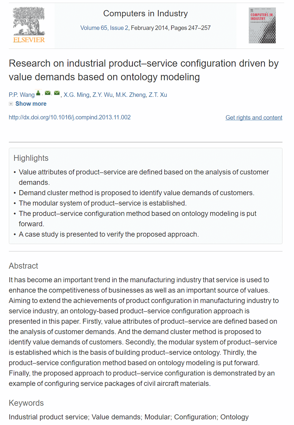 Research on Industrial Product-Service Configuration Driven by Value Demands Based on Ontology Modeling