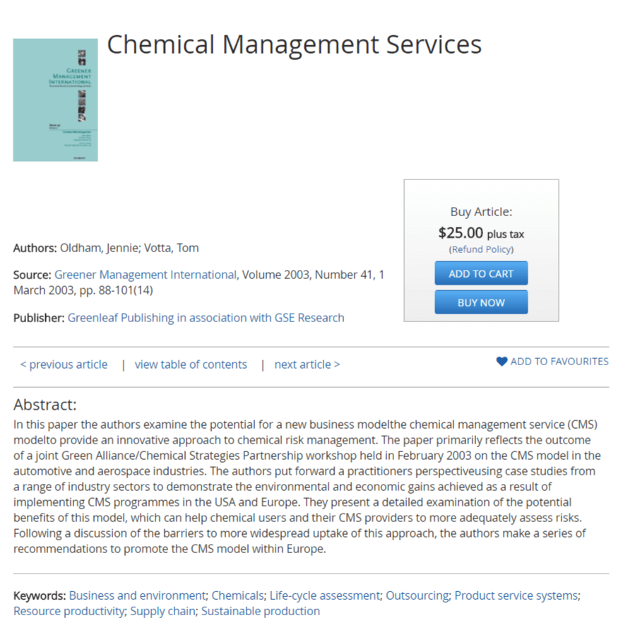 Chemical Management Services: Greening the Supply Chain