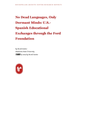 No Dead Languages, Only Dormant Minds: U.S.- Spanish Educational Exchanges through the Ford Foundation